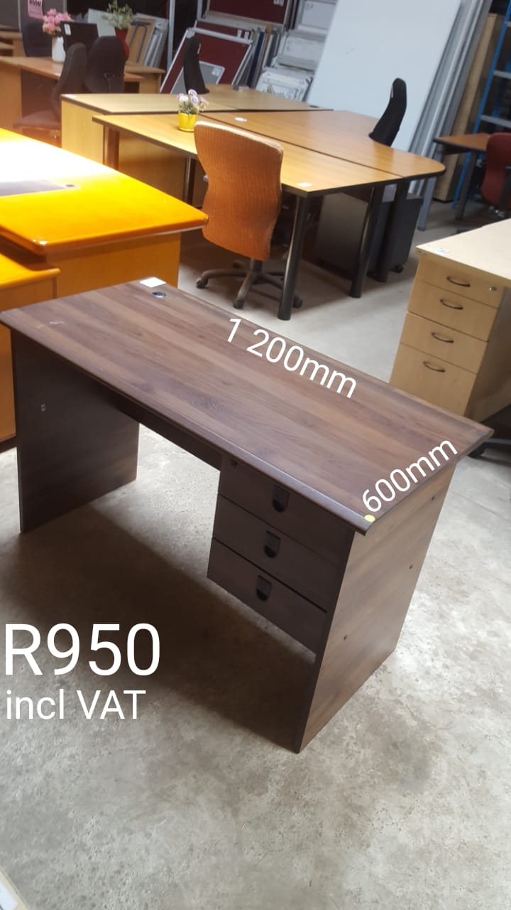 Brown Training Desk with Drawers